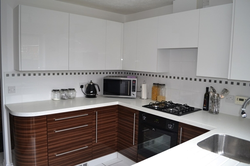 dark wood white kitchen