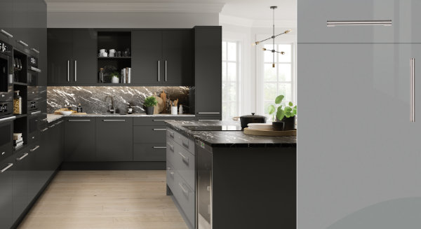 Firbeck Super Gloss Dust Grey Kitchen Door