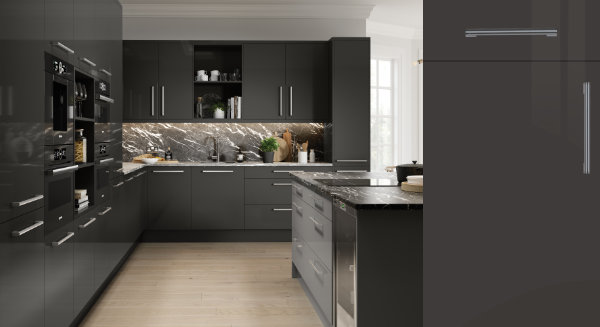 Firbeck Super Gloss Graphite Kitchen Door