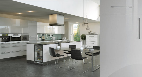 Firbeck Super Gloss Light Grey Kitchen