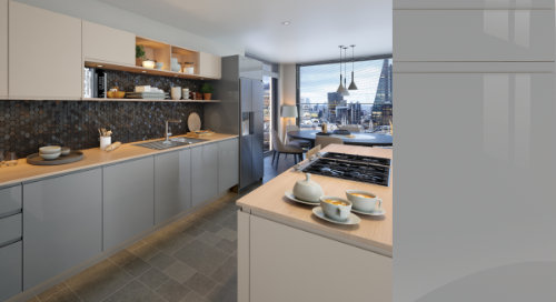 Jayline Super Gloss Dust Grey Kitchen