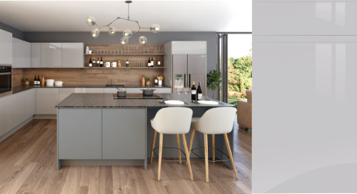 Jayline Super Gloss Light Grey Kitchen Door
